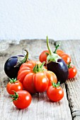 Tomatoes and aubergines
