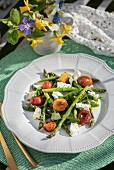 Grilled asparagus with glazed tomatoes and feta for Easter