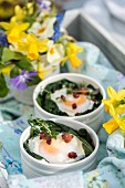 Baked duck eggs with wild garlic, truffle mushrooms and pancetta for Easter