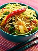 A bowl of singapore noodles