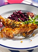 Rainbow trout and red cabbage editorial food