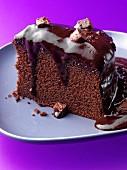 A slice of chocolate fudge cake
