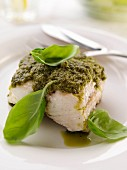 A single serving of pesto fish