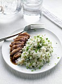 Roast garlic quail breast risotto