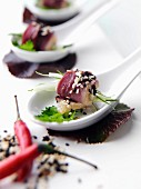 Duck canapes stylish catering