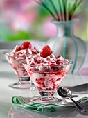 Two glasses of Eton mess fruit dessert