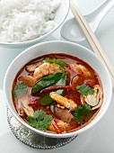 A bowl of Tom Yam Thai seafood soup