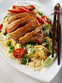 Pan fried duck with special fried rice