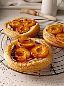Apricot galettes on a wire cooling rack