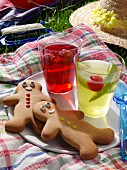 Jellies and gingerbread men at a grassy picnic