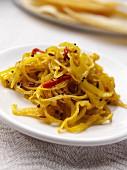 A dish of haldi cabbage editorial food