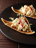 Smoked chicken canapes editorial food