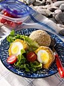 Falafel eggs at a beach picnic