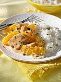 Chicken Fricassee and rice