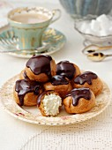 Profiteroles in a table setting