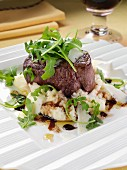 Filet steak with rocket mashed potato pacorino cheese and balsamic vinegar
