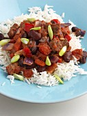 Chili con carne on rice