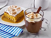 Hot chocolate and Dulce de leche Tres Leches