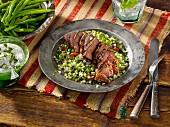 Harissa lamb and tabouleh