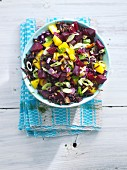 Black rice salad with beetroot and spring onions