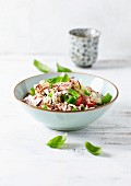 Basmati rice and tuna salad with vegetables