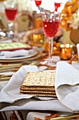 Jewish Matzos on a holiday table