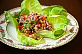 Texas Caviar salad, with black-eyed peas, cilantro, olive oil, red wine vinegar, red bell peppers and red onion, Texas, USA