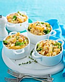 Creamy Salmon, Vegetable and Penne Pots (Gluten Free)