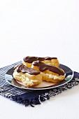 Cream and Chocolate eclairs