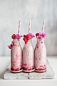 Beerenjoghurt in kleinen Flaschen, garniert mit Johannisbeeren und Blüten