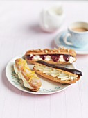 Peanut butter eclairs with cream and jam