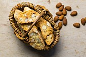 Almond biscotti in a basket