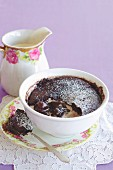 Chocolate cherry self-saucing pudding