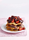 Wonderful waffles with chocolate sauce