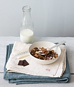 Gluten-free muesli with chocolate and milk