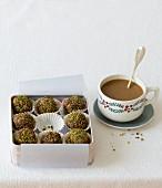 Muesli balls and coffee