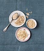 Various types of porridge oats