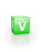Green cube with letter V.