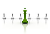 Green chess piece and pawns