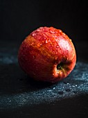 Red apple on a dark background
