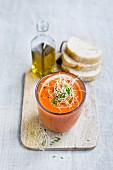 Gazpacho with alfalfa sprouts