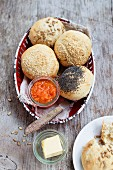 Various vegan bread rolls with carrot and papaya chutney