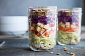 Layered salad with chicken, carrot, apple, red cabbage, kale and sunflower seeds in a glass jar