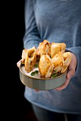 Prawn parcels in a rice bowl