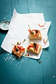 Focaccia with red pepper and capers