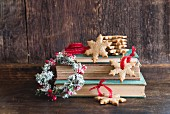 Christmas cookies on old books