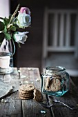 Cereals biscuits in a jar on wooden table