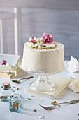 Chiffon cake on marble table