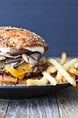 Cheeseburger with Mushrooms and Fries