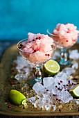 Frozen rose sorbet with lime and pink pepper